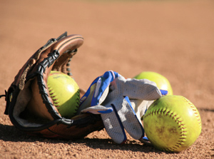 Slow-Pitch Softball Action bei den Kangaroos